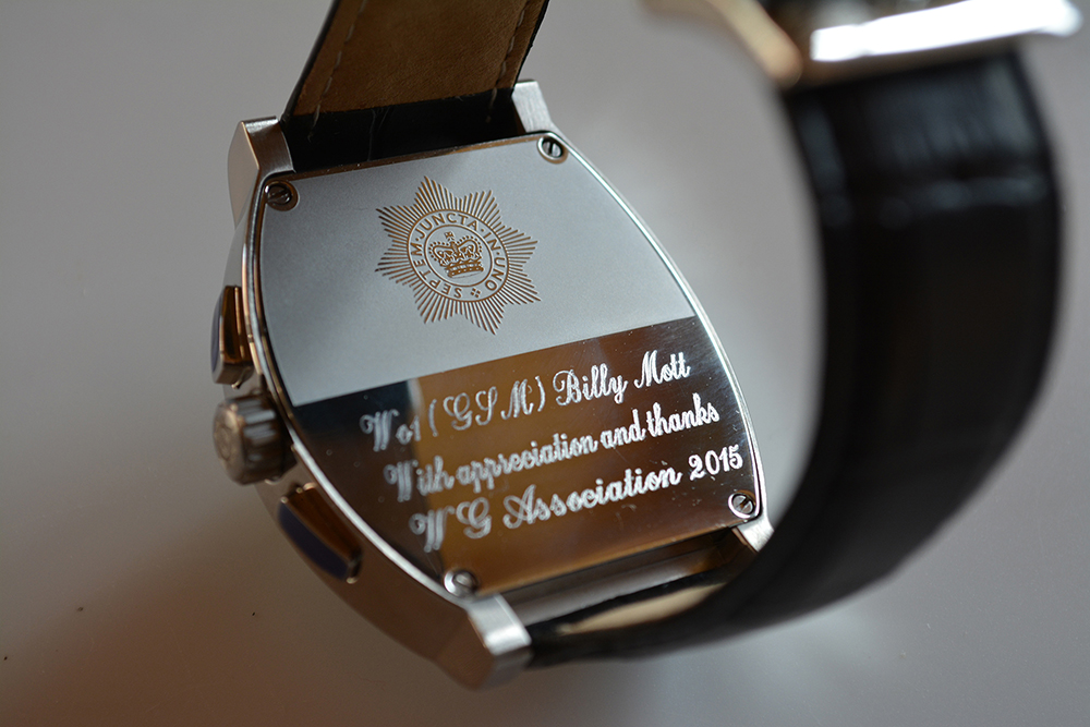 Engraving on GSM Billy Mott's wrist watch