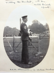 One from my grandfather's photo album.  RSM Stevenson watching Battalion sports day, 1920s